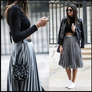 Silver Accordian Skirt